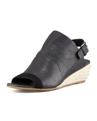 Blink Leather Slingback Wedge, Black