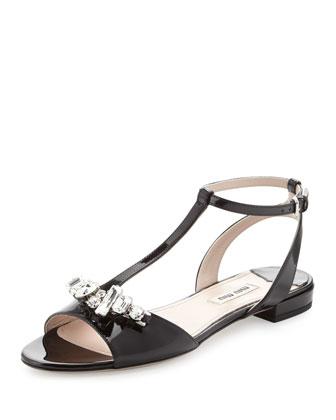 Vernice Crystal-Buckle T-Strap Sandal