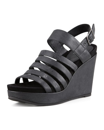 Plenty Strappy Wedge Sandal, Black