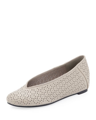 Patch Perforated Ballerina Flat, Earth