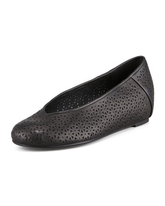 Patch Perforated Ballerina Flat, Black