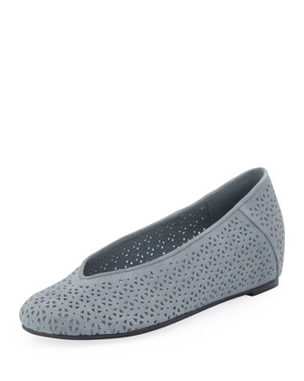 Patch Perforated Ballerina Flat, Washed Blue