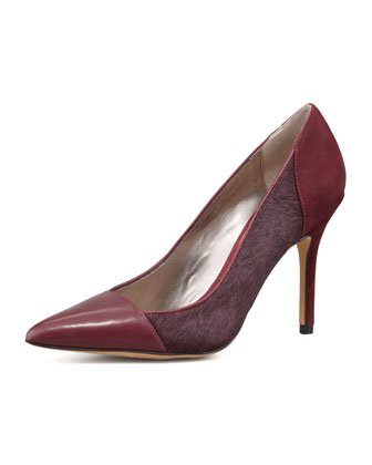 Desiree Mixed-Leather Pump, Burgundy