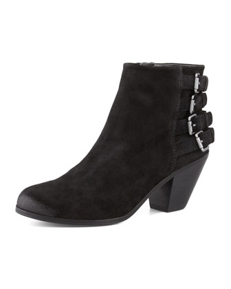 Lucca Buckle-Back Suede Bootie, Black