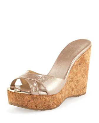 Perfume Crisscross Patent Wedge Sandal, Champagne