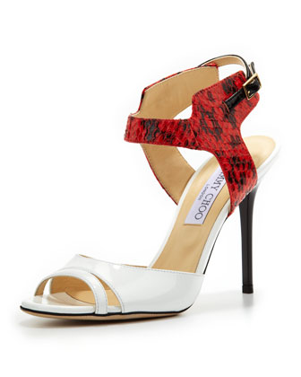 Marcia Snake & Patent Ankle-Wrap Sandal, White/Flame
