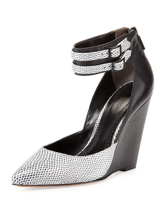 Lidia Lizard-Embossed Wedge, White/Black