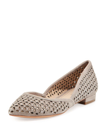 Roux Suede Point-Toe Ballet Flat, Dove