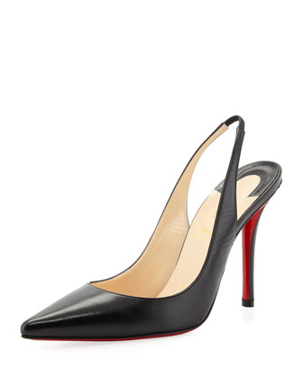 Apostrophe Red-Sole Slingback Pump, Black
