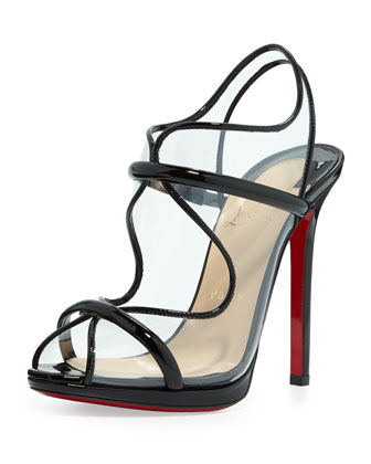 Aqua Ronda PVC Red Sole Sandal, Black