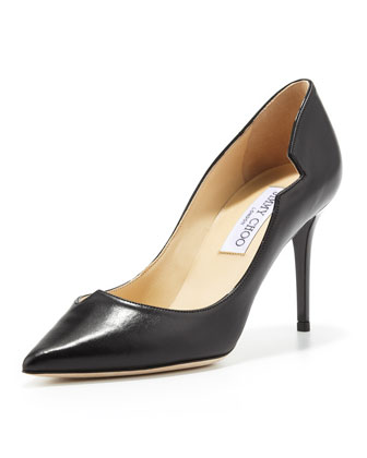 Lyric Leather Cutout Pump, Black