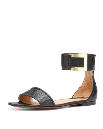 Gracie Flat Snakeskin Sandal, Black