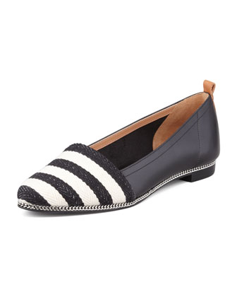 Tyler Striped Leather Flat, Black/White