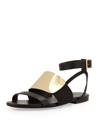 Metal-Vamp Flat Sandal, Black/Gold
