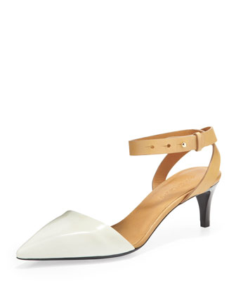 Ankle-Wrap d'Orsay Pump, White