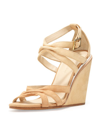 Suede Strappy Wedge Sandal, Natural