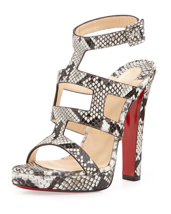 Cardamona Python Ankle-Wrap Red Sole Sandal