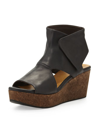 Mind Cutout Cork-Wedge Bootie