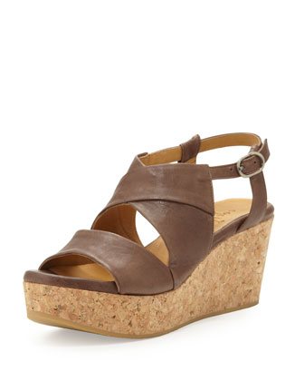 Melania Cork-Wedge Sandal