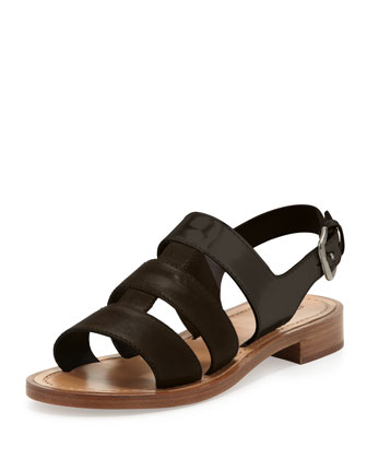 Triple-Strap Flat Sandal, Brown