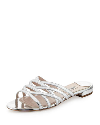 Metallic Strappy Slide Sandal