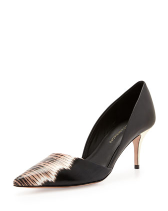 Kalin Printed Leather Pump, Black