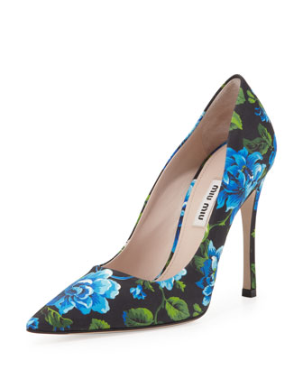 Floral-Print Point-Toe Pump, Blue