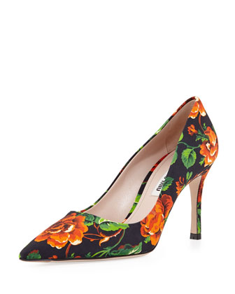 Floral Point-Toe Pump, Orange