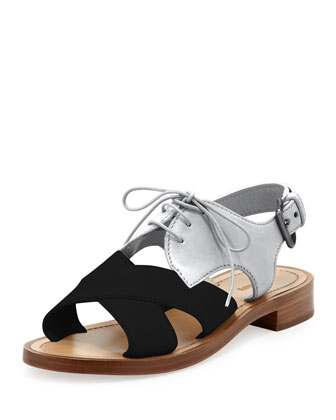 Crisscross Lace-Up Combo Sandal