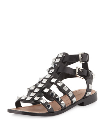 Sage Studded Leather Gladiator, Black