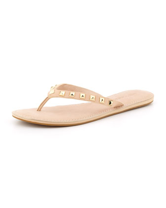 Fiona Studded Leather Flip-Flop, Desert