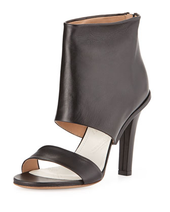 Leather High-Heel Sandal, Black
