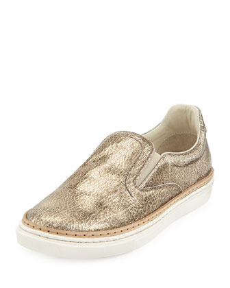 Crackled Metallic Slip-On Sneaker