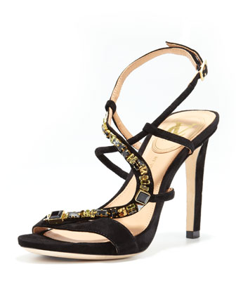 Bethe Suede Strappy Jewel Sandal