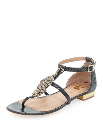 Daria Crystal Panther Sandal, Black