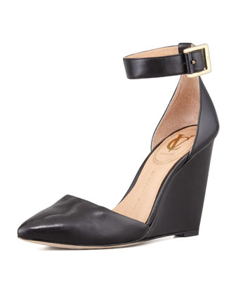 Solanna Pointy-Toe Ankle-Strap Wedge, Black