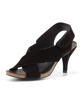 Maia Low-Heel Crisscross Suede Sandal, Black