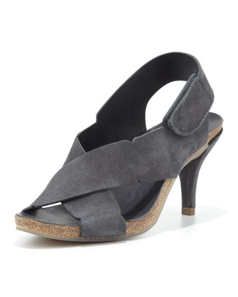 Maia Low-Heel Crisscross Suede Sandal, Coal