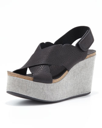 Dafne Platform Wedge, Black