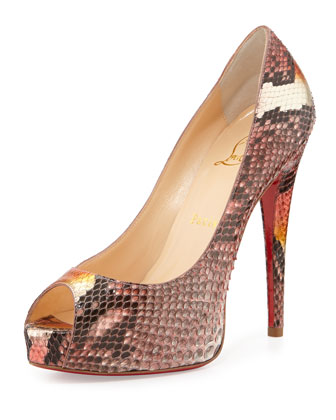 Vendome Python Red-Sole Peep-Toe Platform Pump