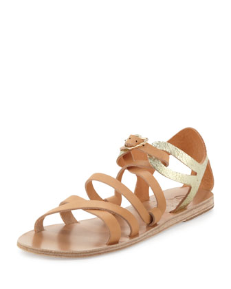 Ellie Crisscross Flat Sandal, Natural/Gold