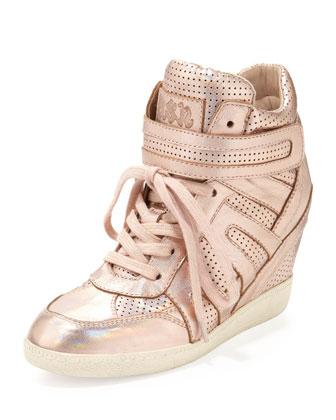 Beck Metallic Wedge Sneaker, Rose Gold