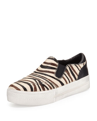 Jungle Zebra-Print Calf Hair Sneaker