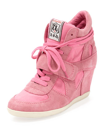 Bowie Suede and Canvas Wedge Sneaker, Shocking Pink
