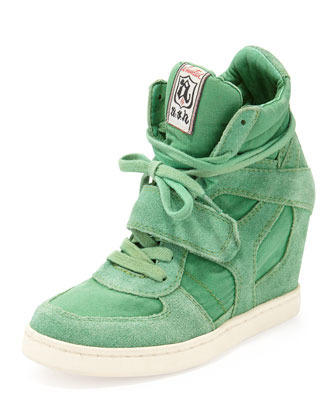 Bowie Suede and Canvas Wedge Sneaker, Brazil