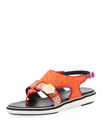 Flat Rubber-Sole Mixed-Fabric Sandal, Orange