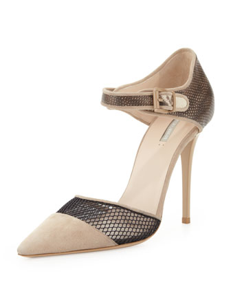Suede/Snake Netting Point Pump
