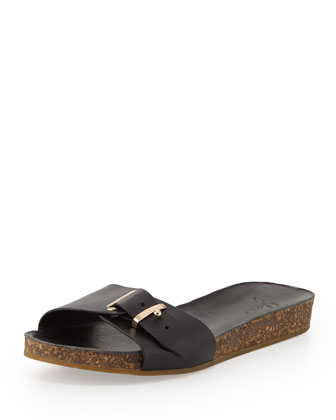 Maddux Leather Buckle Slide Sandal