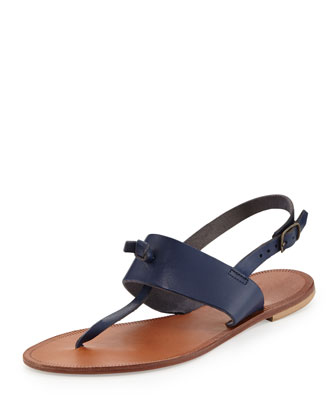 Bastia Knot Thong Sandal, Cobalt