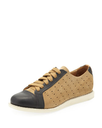 Mr. Miller Bicolor Perforated Sneaker, Camel